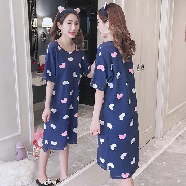 Women Summer Thin Knit Cotton Nightdress Short-Sleeved Maternity Sleepwear
