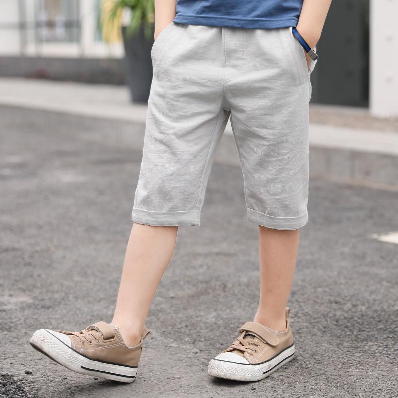 Kids Children Boy Big Summer Shorts Cotton and Linen Pants
