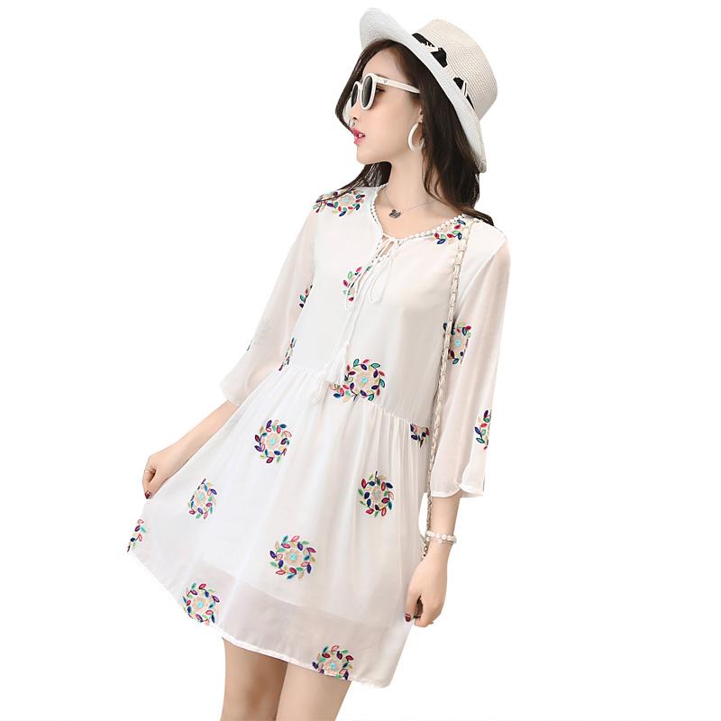 Women Korean Summer Sleeveless Pregnant Chiffon Maternity Dress