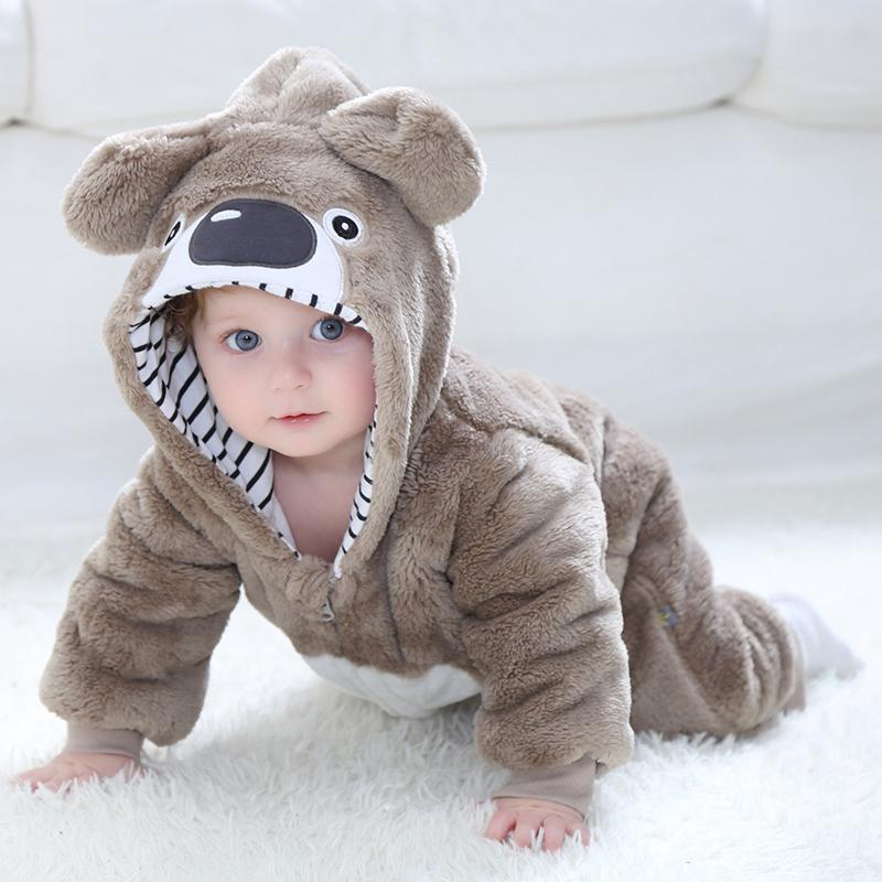 Baby Newborn Climbing Flannel Bear Cartoon Clothes Winter Wear
