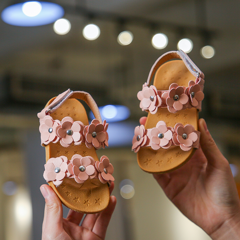 Kids Children Girl Korean Princess Flower Sandals Open Toe Shoes