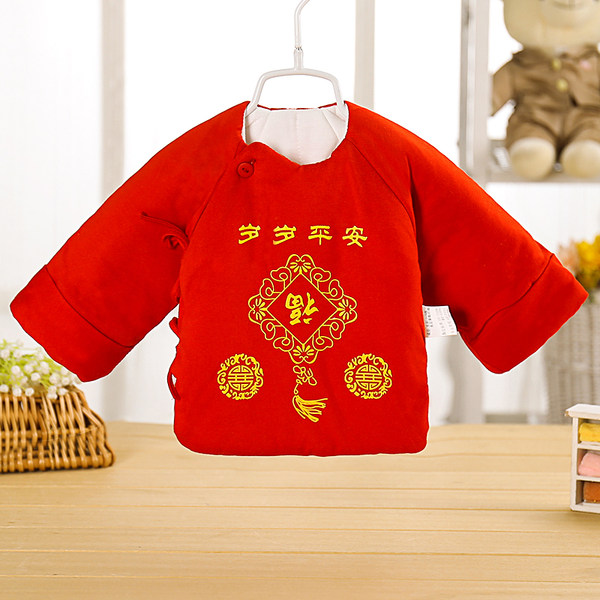 Baby Chinese Newborn Cotton Long Sleeve Monk Half Back Clothes Tops
