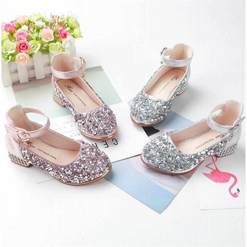 Kids Girls Shoes High Heel Princess New Korean Style Crystal Sandals Kids Shoes