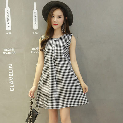 Women Grid Sleeveless Pocket Maternity Dress
