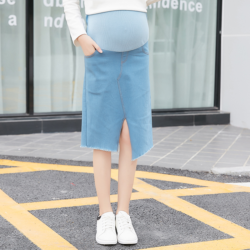 Women Maternity Skirt Wear New Fashion Stretch Casual Denim Split Maternity Skirt