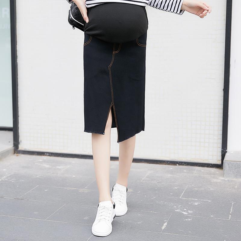 Women Maternity Skirt Wear New Fashion Stretch Casual Denim Split Maternity Skirt