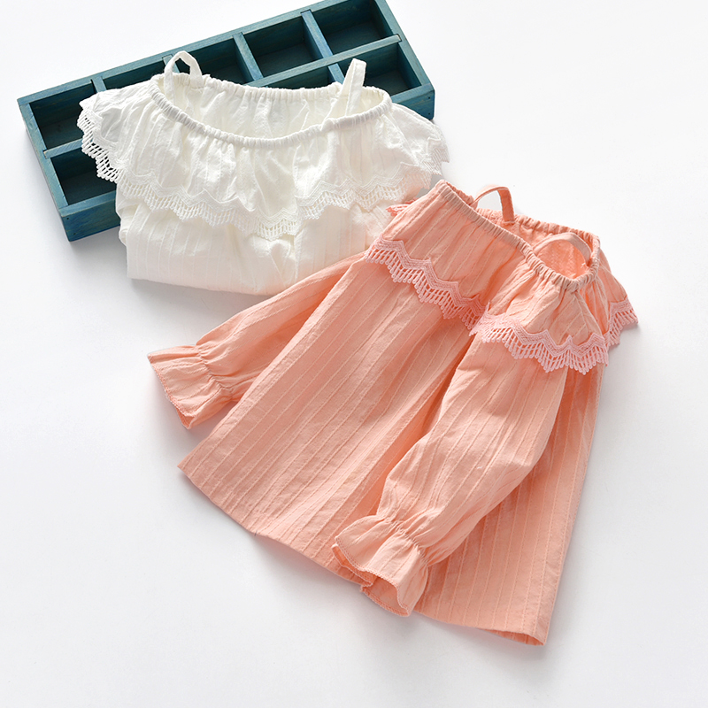 Kids Girl Tops  Lace Flower Embroidered Doll Princess Tunic Kids Clothing Tops
