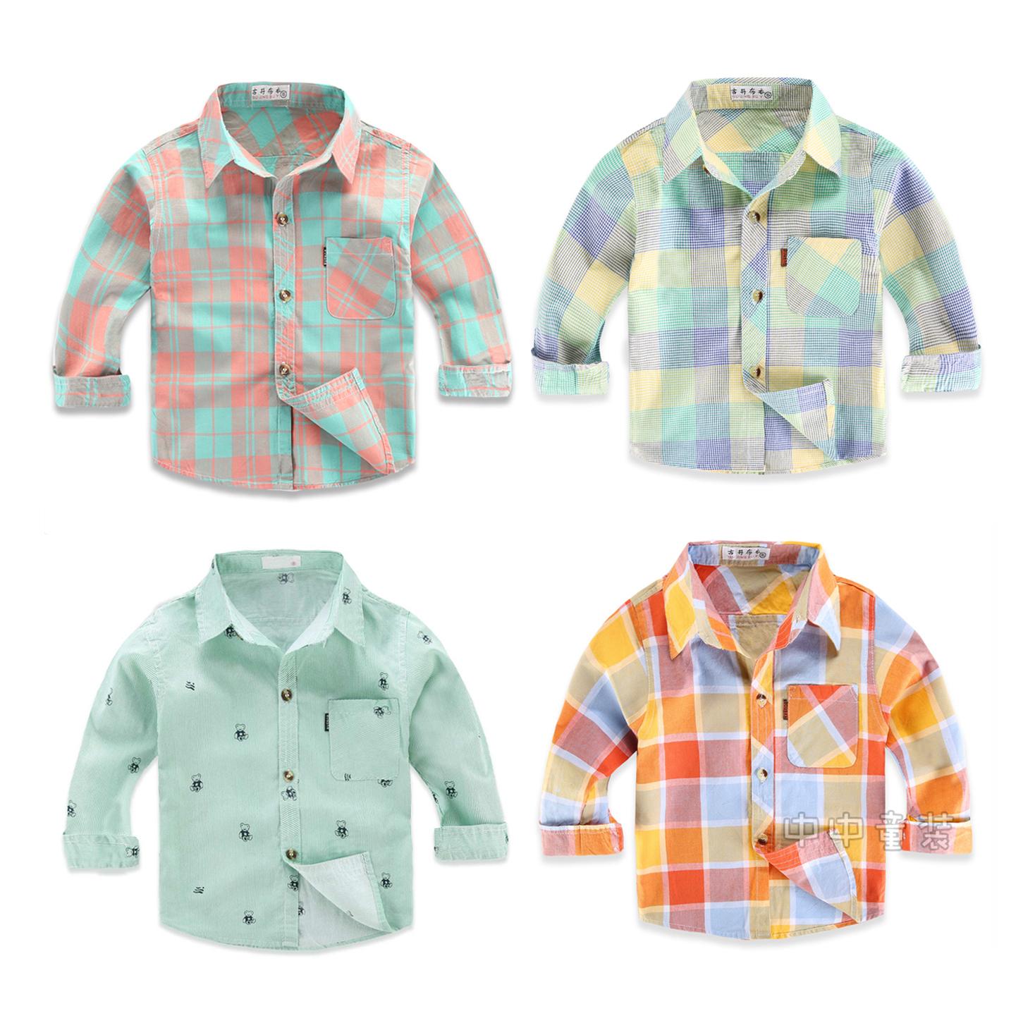 Kids Boys Top Long Sleeve Shirt Cotton Jacket Baby Plaid Shirt Kids Clothing Tops