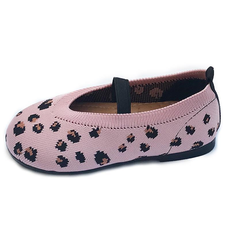 Kids Girls Shoes Children Soft Cute Fashion Breathable Leopard Knit Shoes Flats