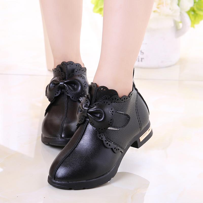 Kids Girls Shoes Korean leather children's high-heeled Soft Princess Child Shoes