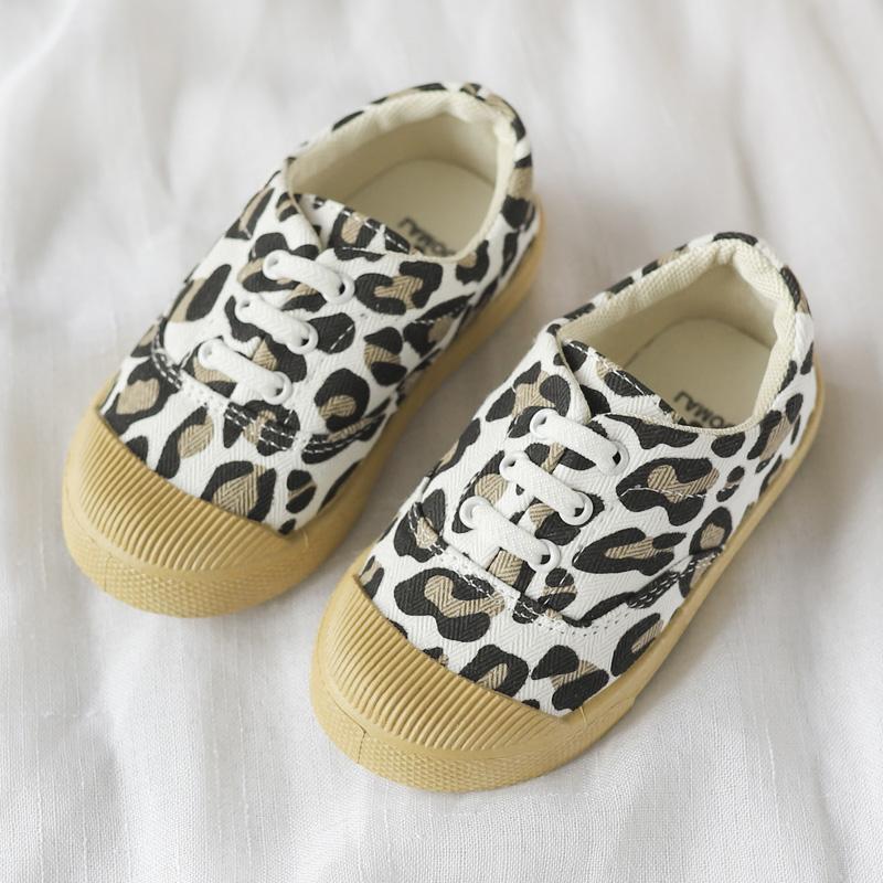 Kids Girls Shoes Children\'s Casual Retro Leopard Print Flats Sport Tie Sneakers
