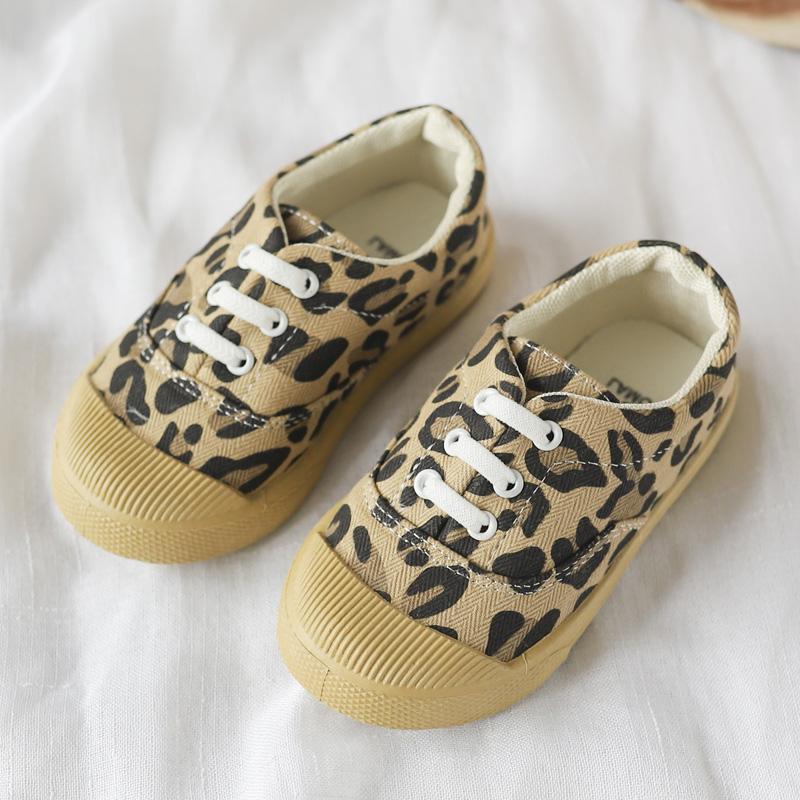 Kids Girls Shoes Children's Casual Retro Leopard Print Flats Sport Tie Sneakers