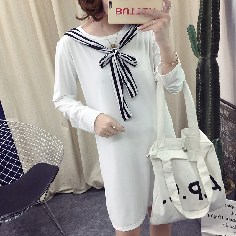 Women Round Neck Stripes Ribbon Long Sleeve Maternity Dress