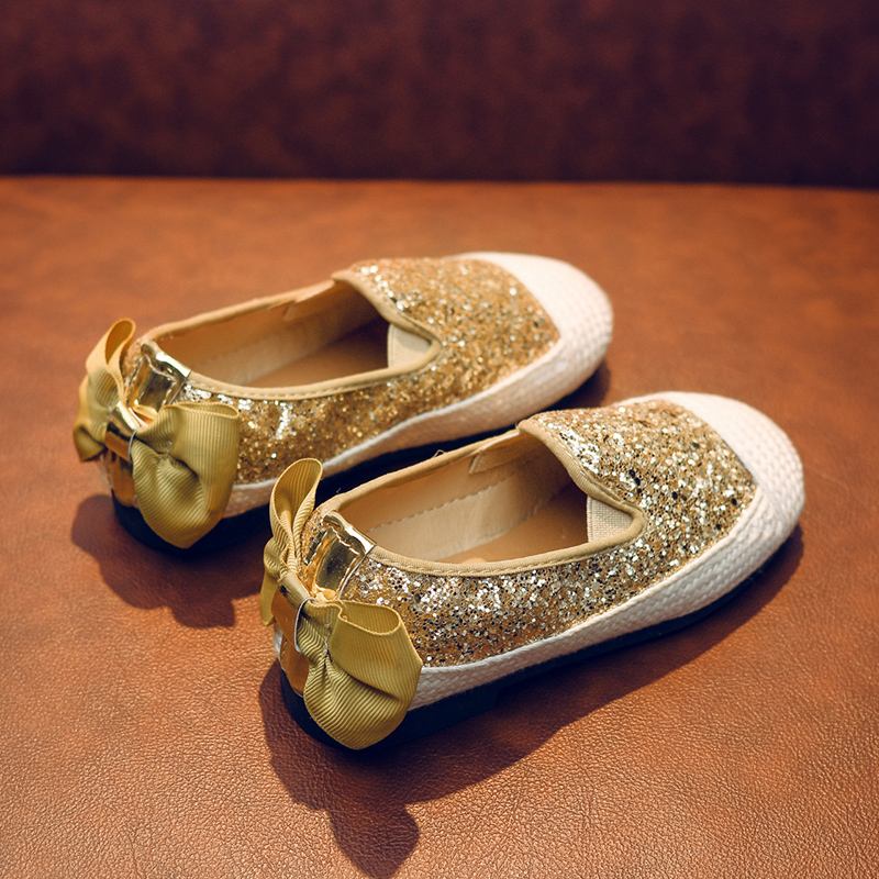 Kids Girls Shoes Children Sequins Princess Sandals Casual Soft Bottom Bow Shoes