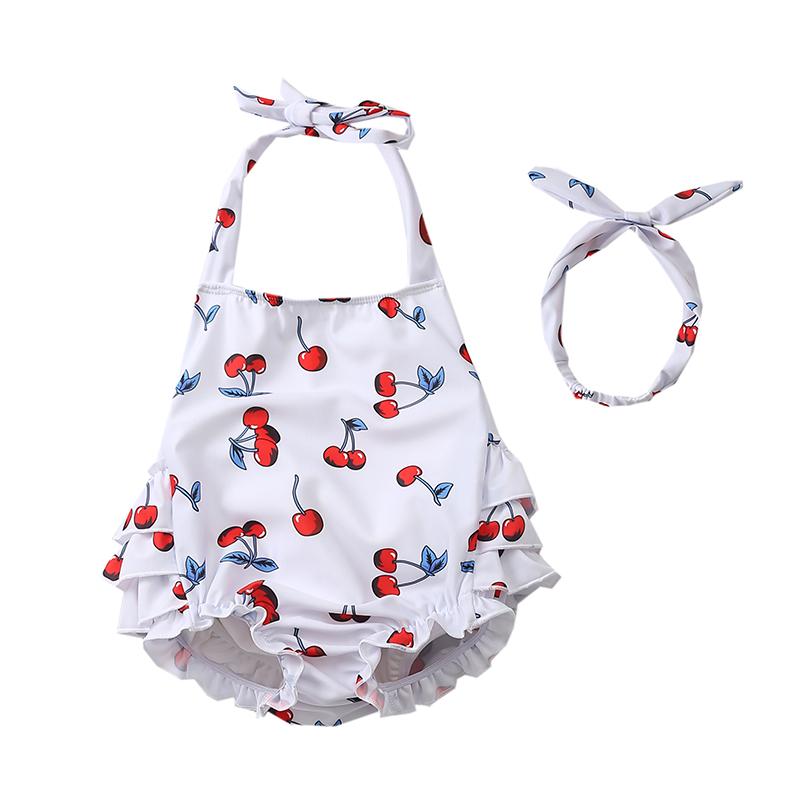 Baby Clothing Swimwear Newborn Girl Cute Swimsuit Summer Cherry Wear Leak Proof