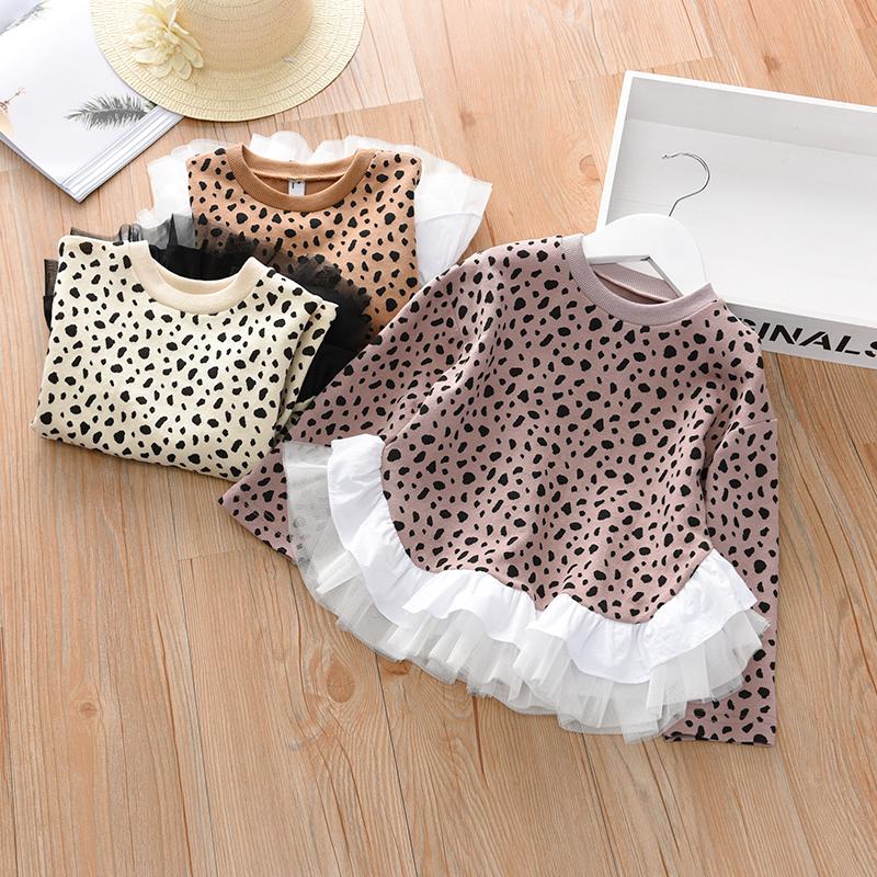 Kids Clothing Tops Girl Shirt Long Loose Shirt Sleeve Leopard Print Korean Style