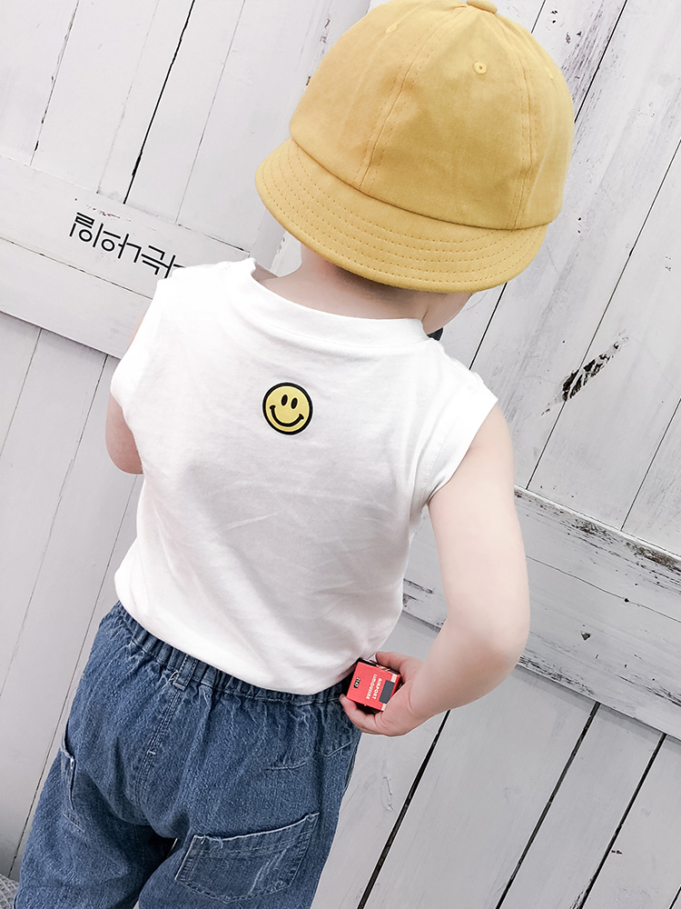 Kids Clothing Boys Tops Soft Cotton Sleeveless T- Shirt Round Neck Korean Style