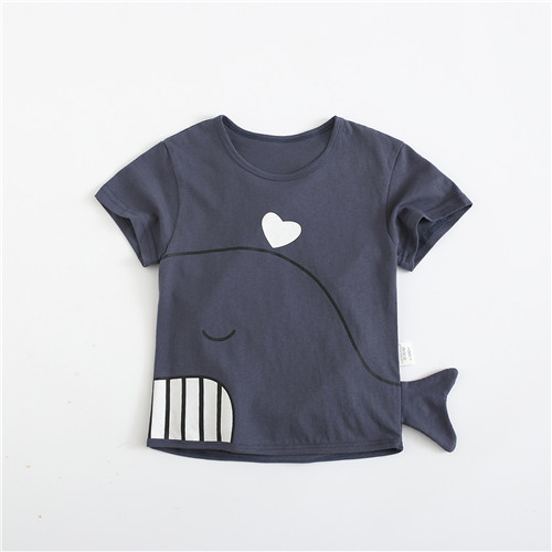 Kids Clothing Boys Tops Summer Dolphin Print Soft Cotton Wear Male Outfits Style