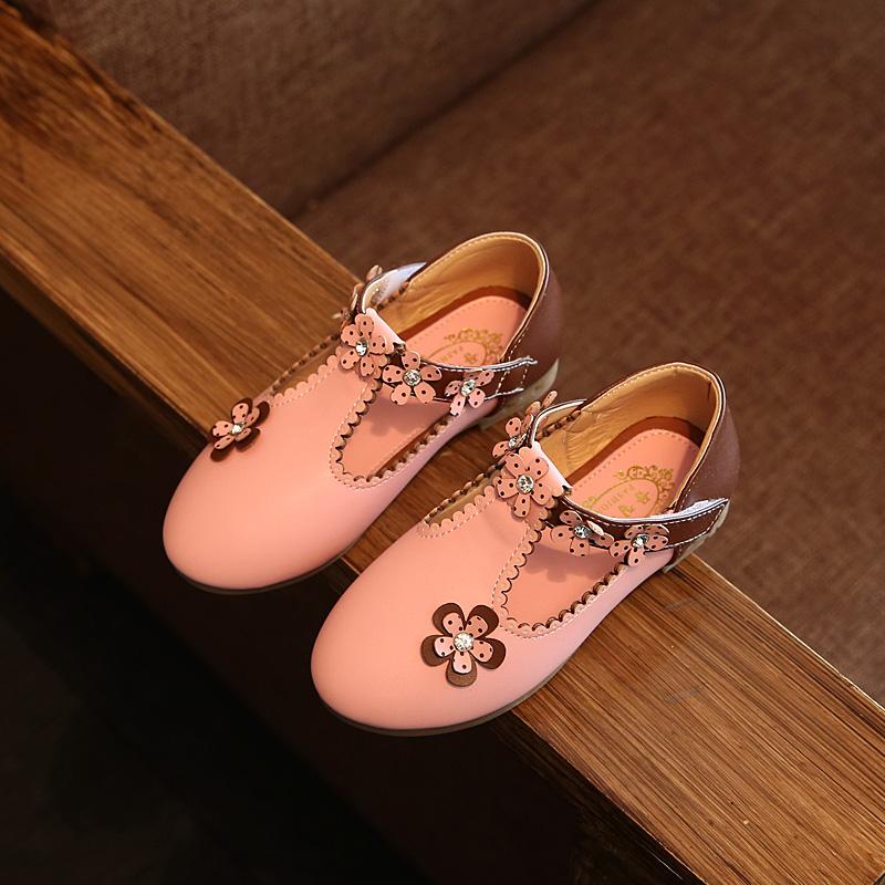 Kids Girls Shoes Princess Casual Cute Korean Style Leather Female Soft Bottom