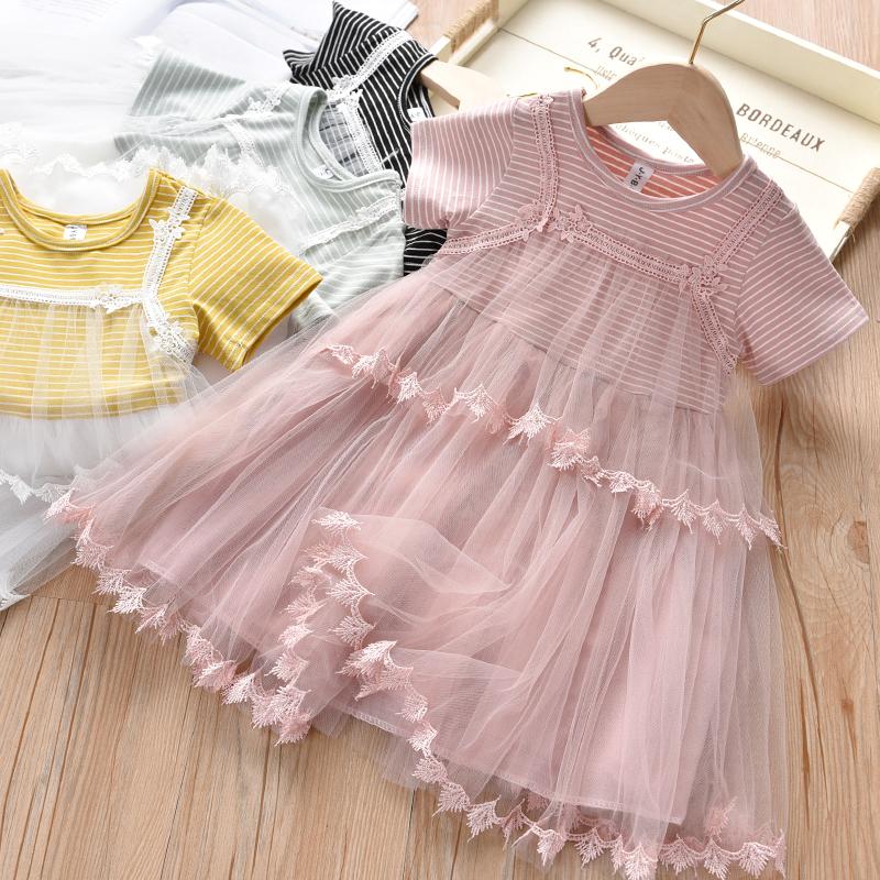 Kids Clothing Girls Summer New Korean Style Mesh Princess Stripes Dress Outfits