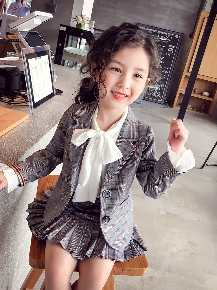 Kids Clothing Tops Girls Spring New Korean Style Bow Tie Doll Outfits Children