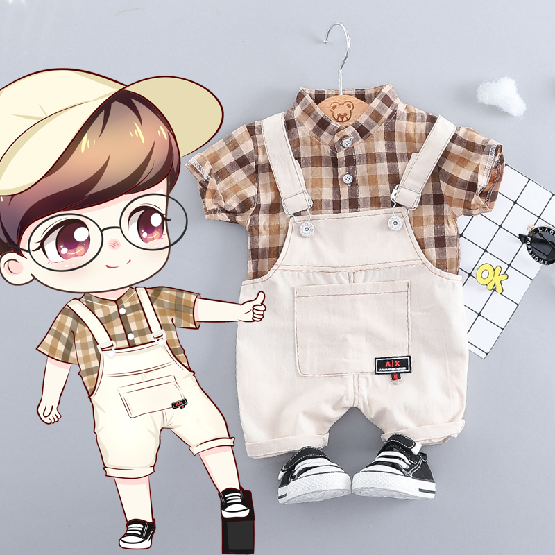 Kids Clothing Boys Sets Cotton Summer Spring Dungaree Plaid Denim Children Wear