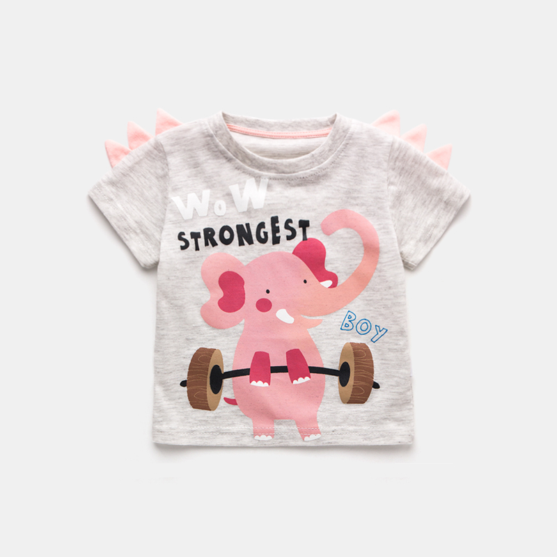 Baby Clothing Tops Summer Short Sleeved Cotton Tide Shirts Cartoon Style Outwear