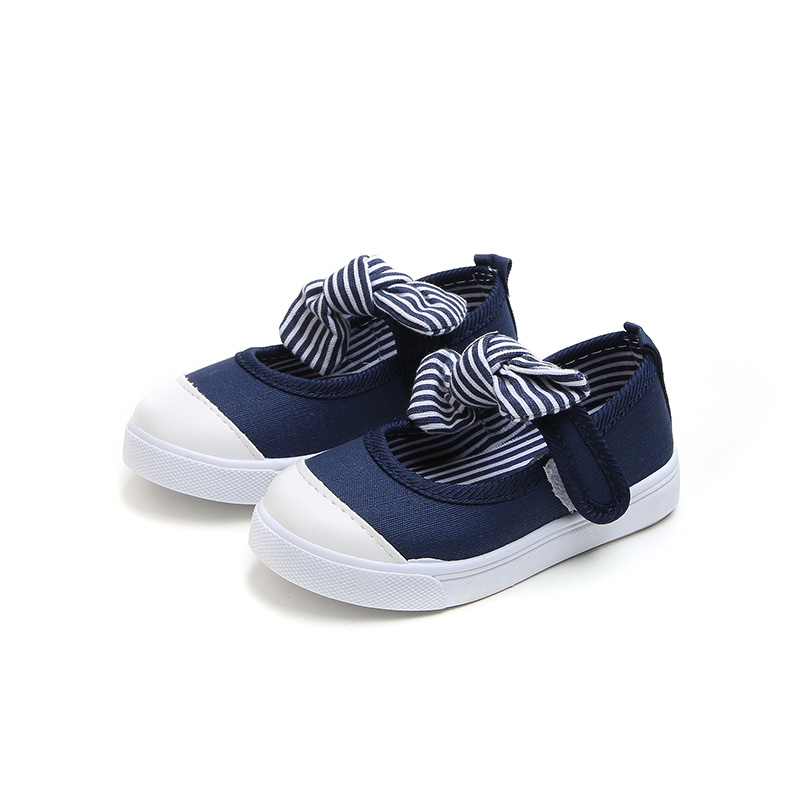 Kids Shoes Girls Korean Children Canvas Sneakers Outwear Cute With Bow Soft Sole