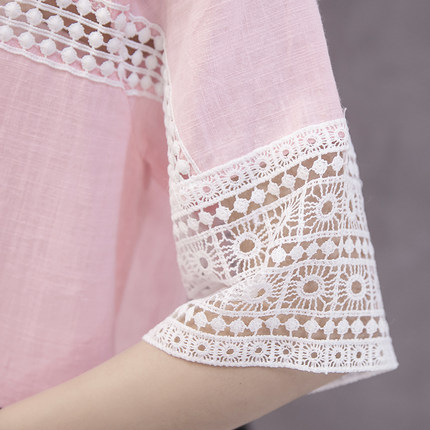 Maternity Clothing Tops Lace Loose Short Sleeved Pregnancy Blouse Summer Shirts