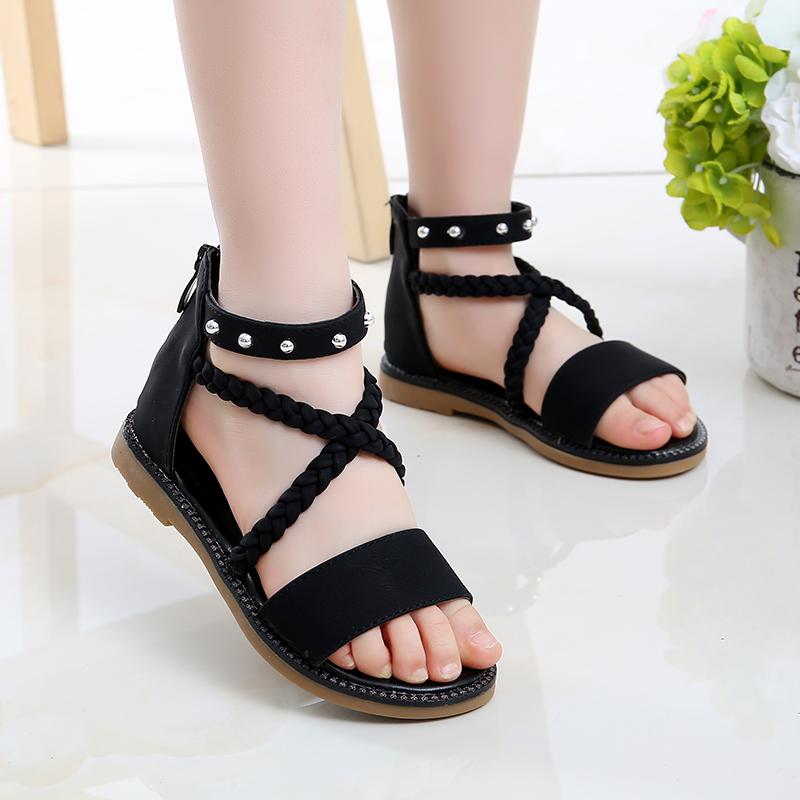 Kids Shoes Girls Flats Little Children's Summer Open Toe Casual Sandals Footwear