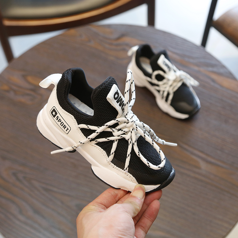 Kids Shoes Boys Male Rubber Shoes Running New Sneakers Tide Soft Bottom Mesh
