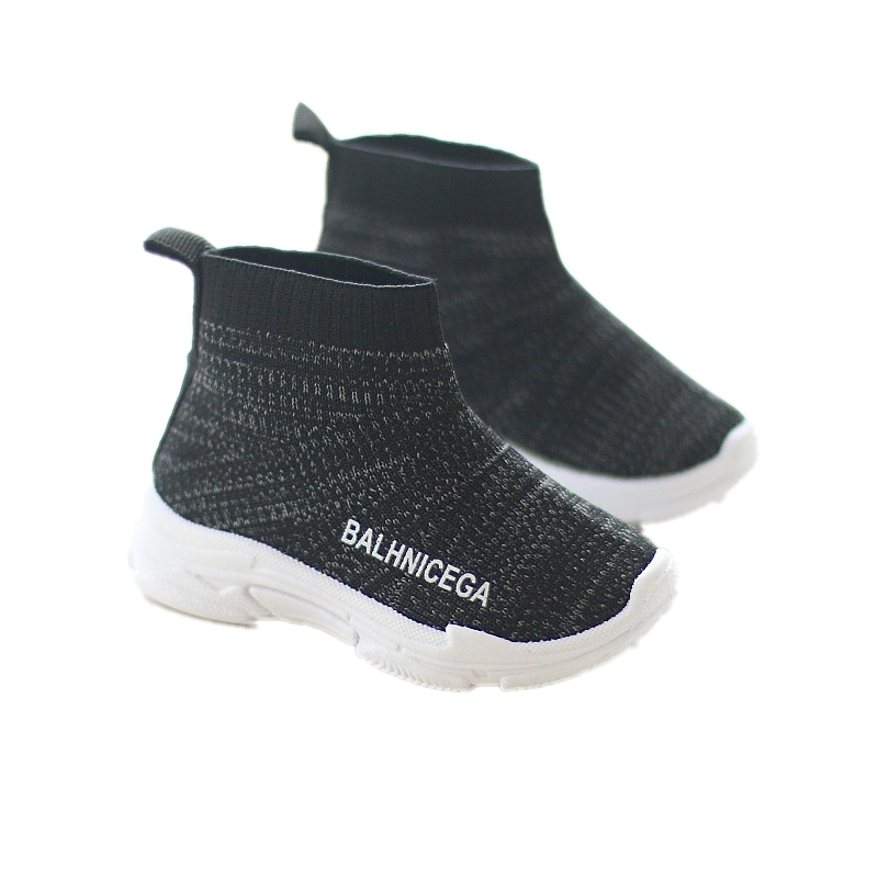Kids Shoes Boys High Top Knit Korean Male Style Rubber Shoes Casual Sneakers