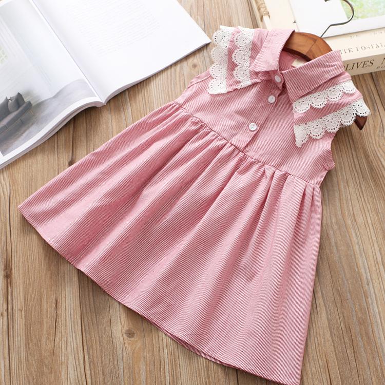 Kids Clothing Girls Set Dress Sleeveless Summer Stripe Cotton Lace Doll Outwear