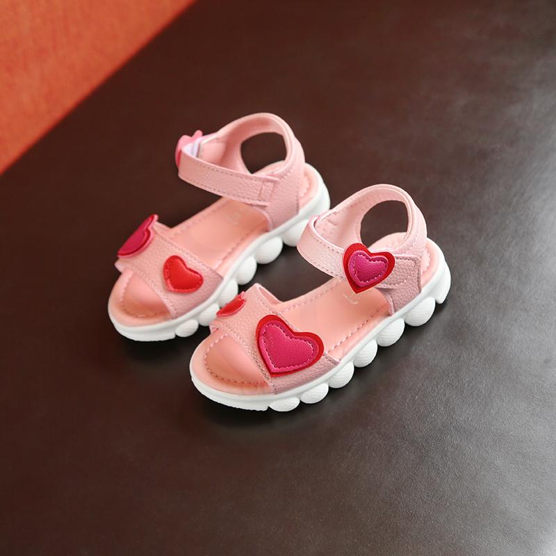 Kids Shoes Girls Sandals Chilren Little Female Casual Soft Bottom Heart Footwear
