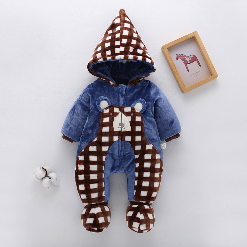 Baby Clothing Winter Wear Thick Newborn Clothes With Hood Cotton Jacket Jumpsuit