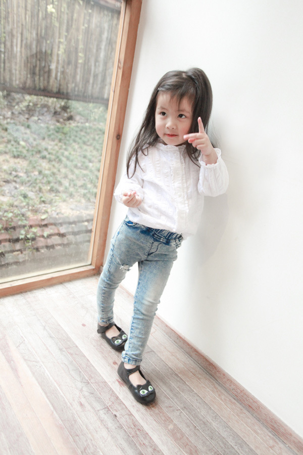 Kids Clothing Girls Tops Cotton Thin Section White Female Long Sleeved Outwear