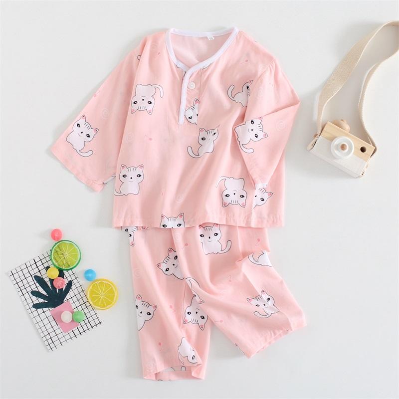 Kids Clothing Girls Sleepwear Set Soft Cotton Thin Section Night Wear Pajamas