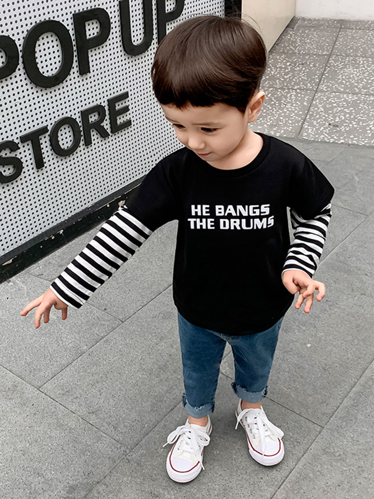 Kids Clothing Boys Tops Long Sleeved T- Shirts Stripe Style Children's Wear
