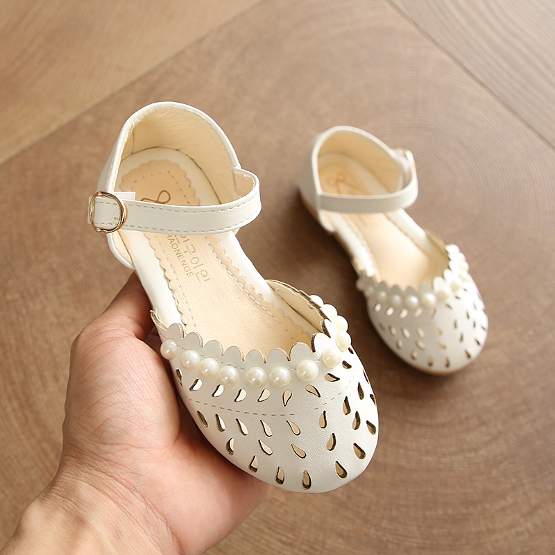 Kids Shoes Girls Pearl Style Soft Bottom Princess Female Casual Flats Footwear