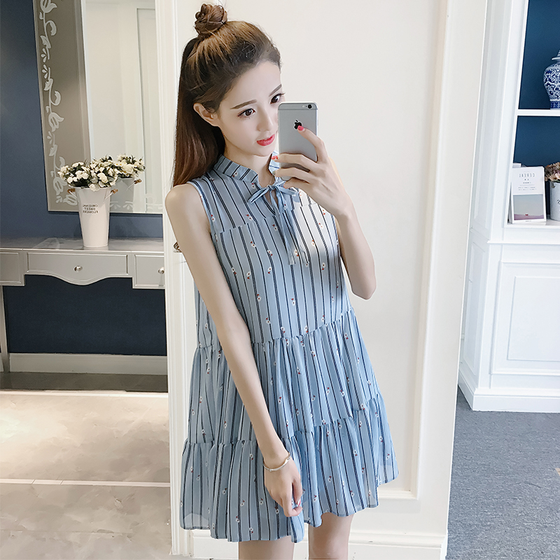 Maternity Clothing Dress Pregnant Women Stripes Sleeveless Cotton Outwear