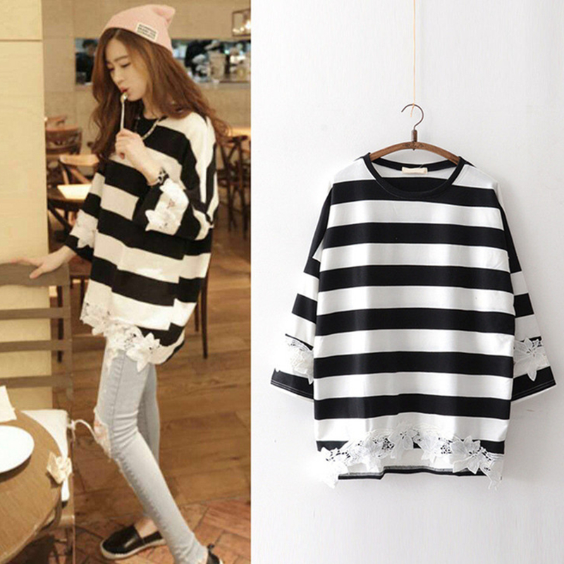 Maternity Clothing Tops Blouse Stripes Long Sleeved Cotton Summer Loose Outwear