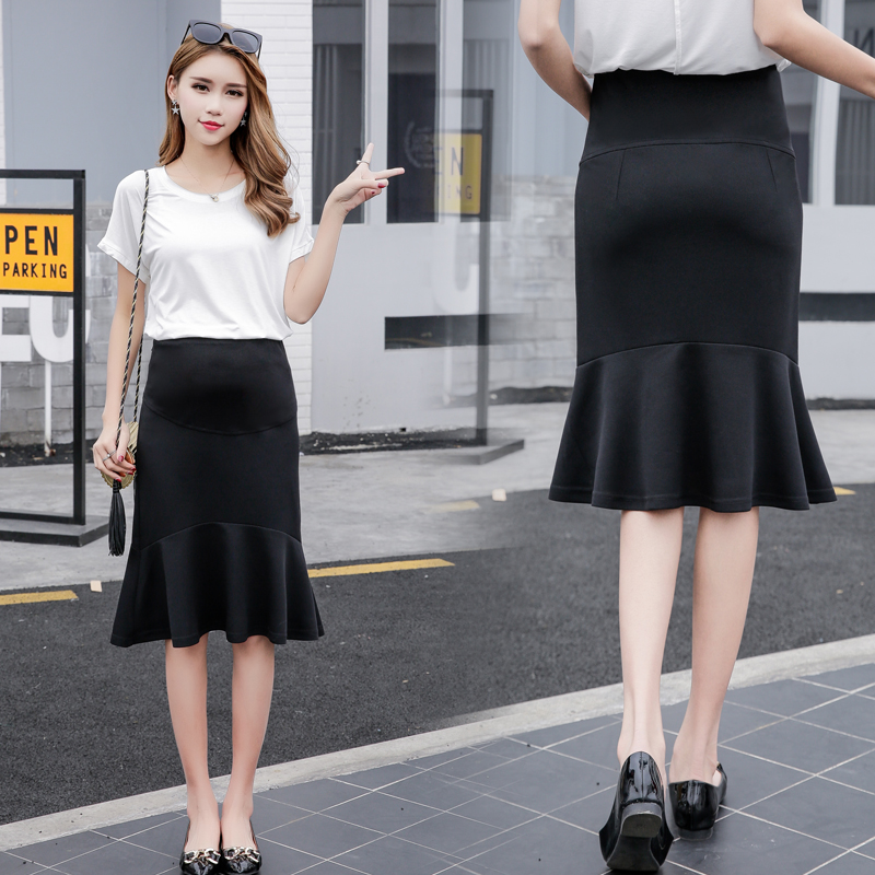 Maternity Clothing Skirts High Waist Stomach Lift Fishtail Pregnant Women Outfit
