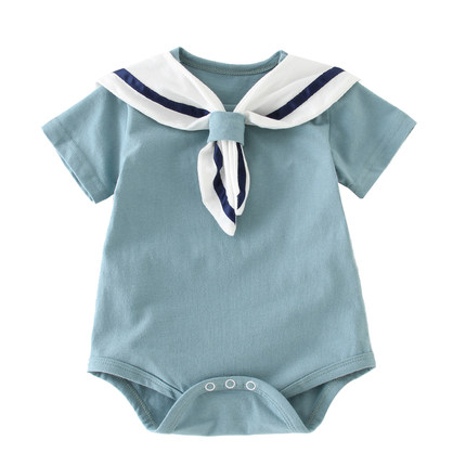 Baby Clothing Dress Jumpsuit Romper Summer Sailor Style Cotton Short Sleeved