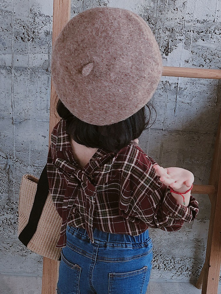 Kids Clothing Tops Girls Wear Spring Plaid Knotted Korean Children Long Sleeved