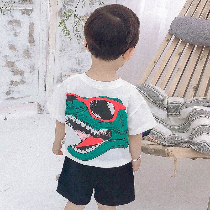Kids Clothing Boys Tops Soft Cotton Printed Summer Short Sleeved Loose T- Shirts