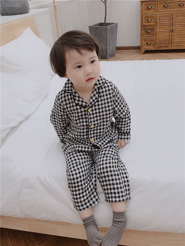 Kids Clothing Boys Plaid Pajamas Set Thin Cotton Breathable