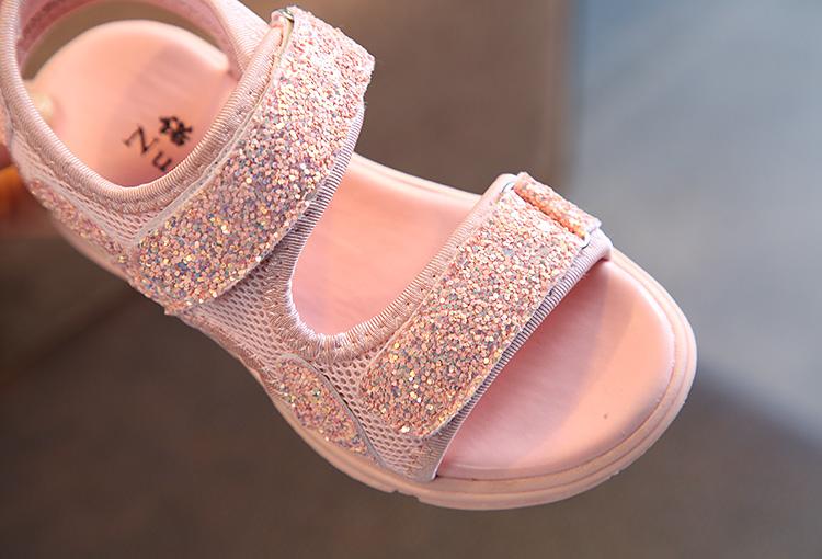 Kids Shoes Girls Sandals Open Toe Comfortable Non Slip Glitters Sequins Beach