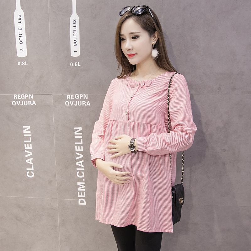 Women Stripes Long Sleeve Chest Ribbon Maternity Tops