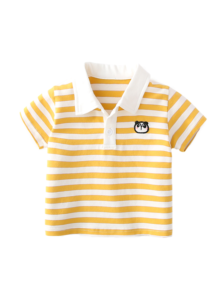 Baby Clothing Tops Blouse Soft Cotton Summer Stripes Polo Collar Shirts Outwear