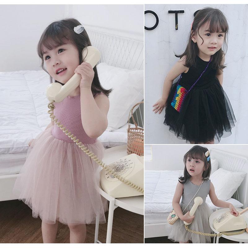 Kids Clothing Girls Dress Set Wear Mesh Children's Cute  Casual Cotton Outfits